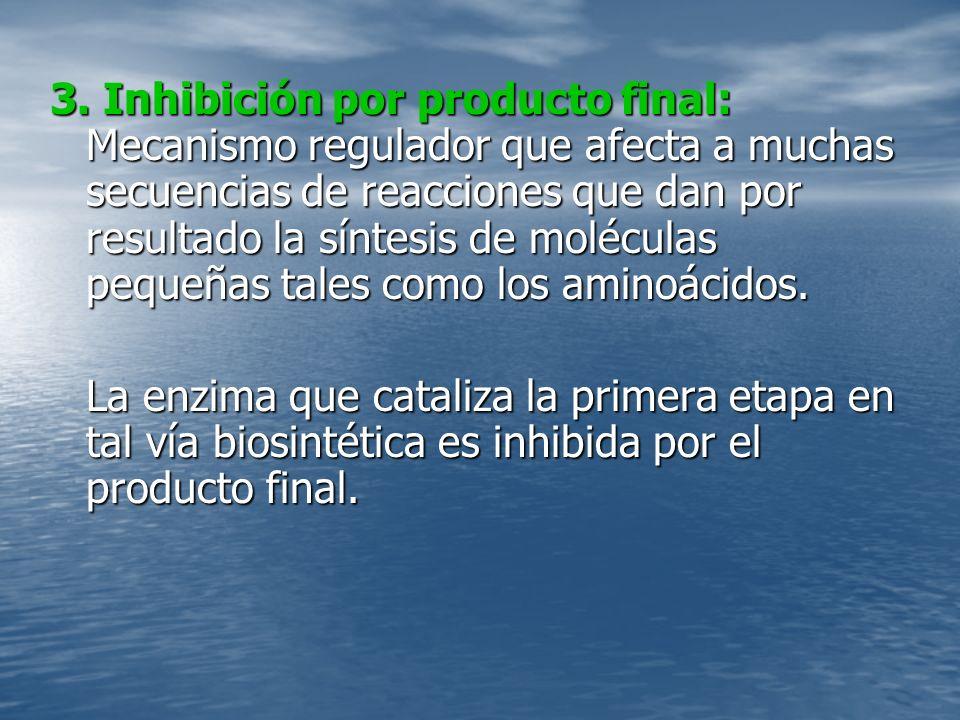 3. Inhibición por producto final: Mecanismo regulador que afecta a muchas secuencias de reacciones que dan por resultado la síntesis de moléculas pequeñas tales como los aminoácidos.