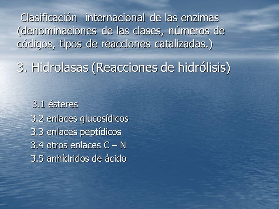 3. Hidrolasas (Reacciones de hidrólisis) 3.1 ésteres