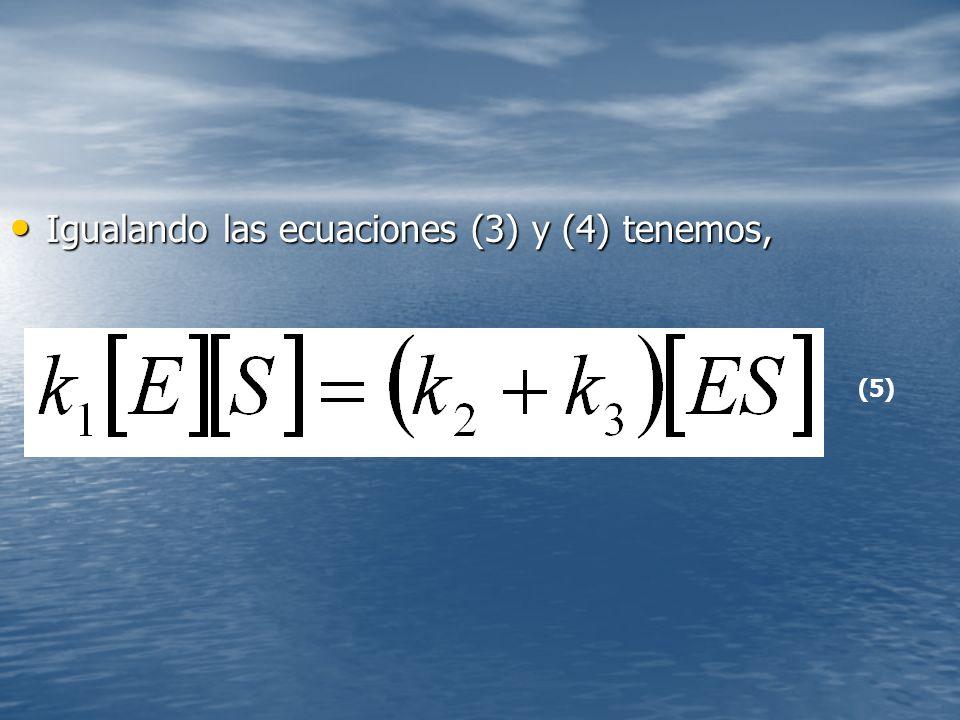 Igualando las ecuaciones (3) y (4) tenemos,