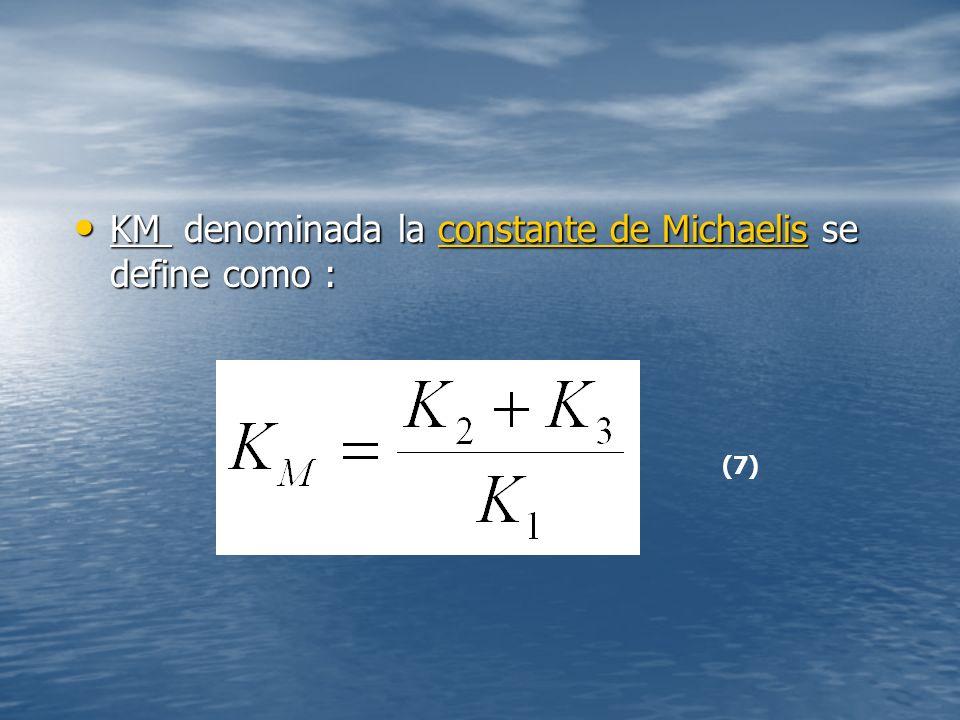 KM denominada la constante de Michaelis se define como :