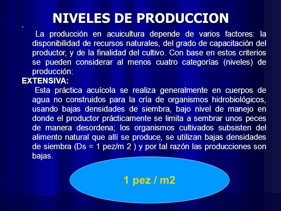 NIVELES DE PRODUCCION 1 pez / m2 EXTENSIVA: