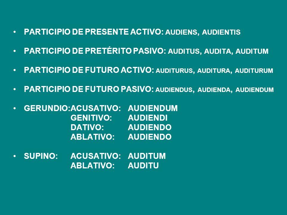 PARTICIPIO DE PRESENTE ACTIVO: AUDIENS, AUDIENTIS