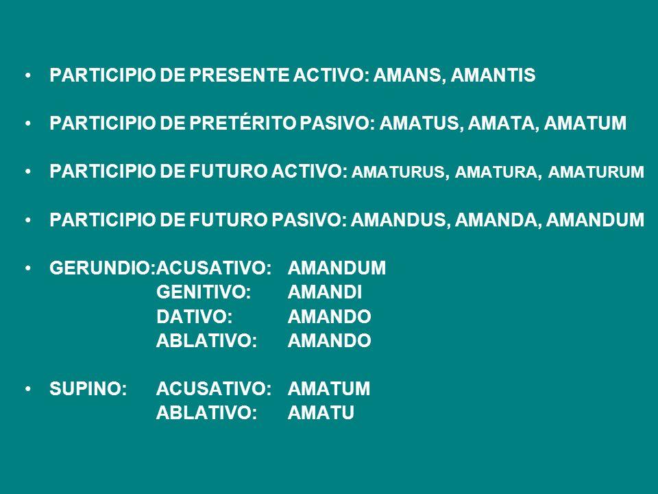 PARTICIPIO DE PRESENTE ACTIVO: AMANS, AMANTIS