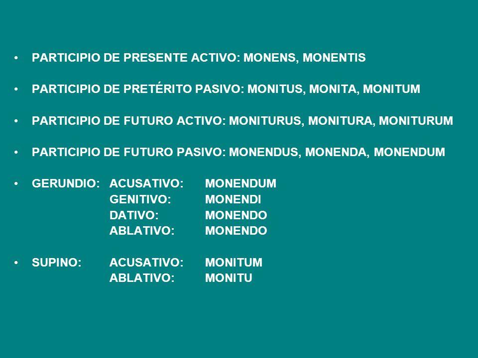 PARTICIPIO DE PRESENTE ACTIVO: MONENS, MONENTIS