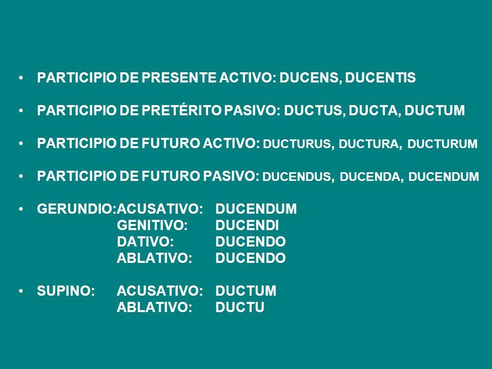 PARTICIPIO DE PRESENTE ACTIVO: DUCENS, DUCENTIS