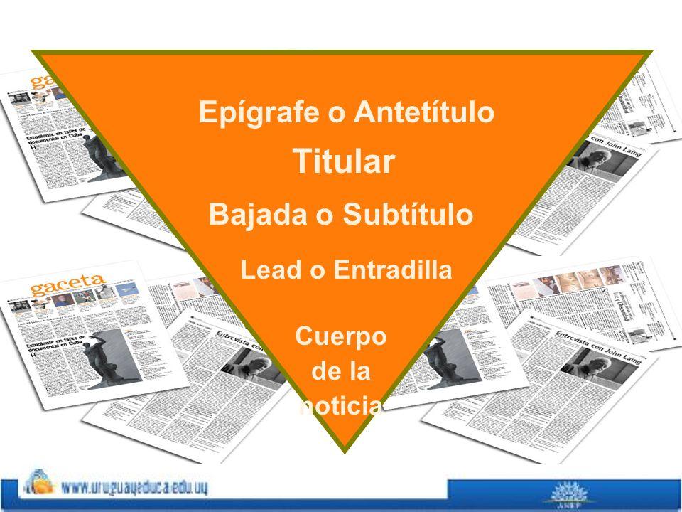 Titular Epígrafe o Antetítulo Bajada o Subtítulo Lead o Entradilla