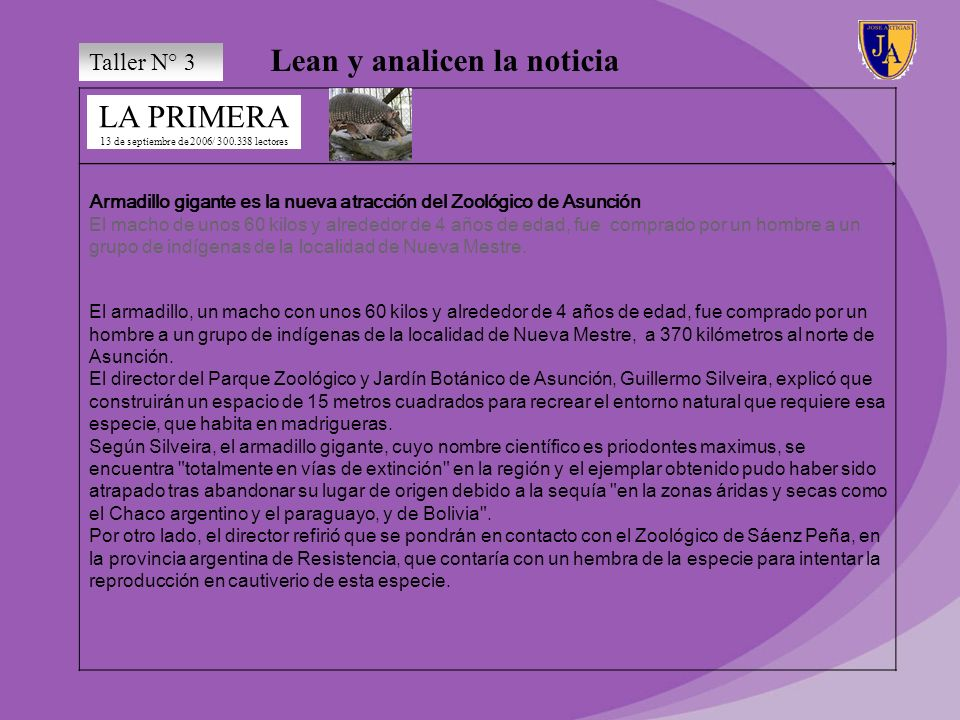 Lean y analicen la noticia