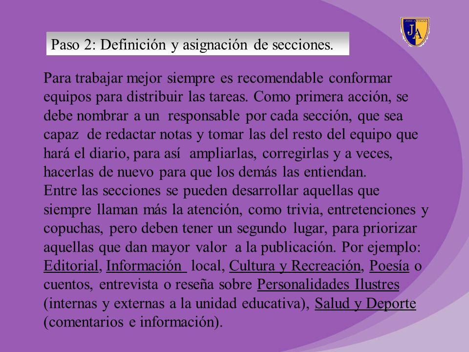 Paso 2: Definición y asignación de secciones.