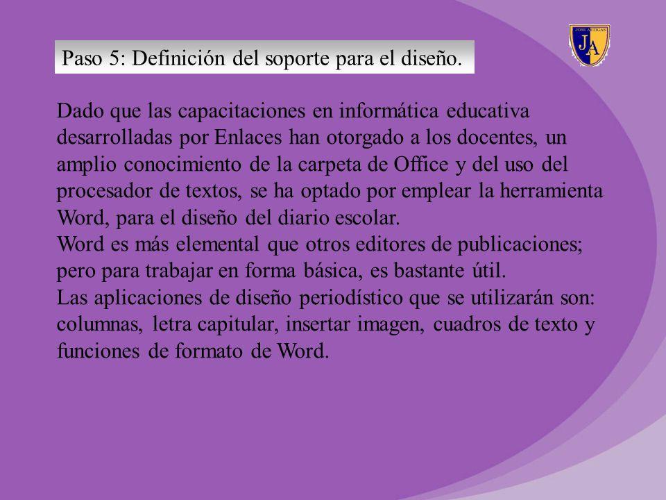 Paso 5: Definición del soporte para el diseño.
