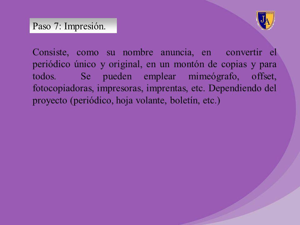 Paso 7: Impresión.