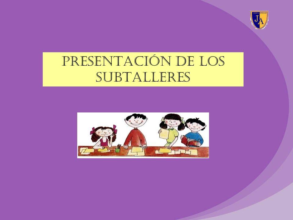 PRESENTACIÓN DE LOS SUBTALLERES