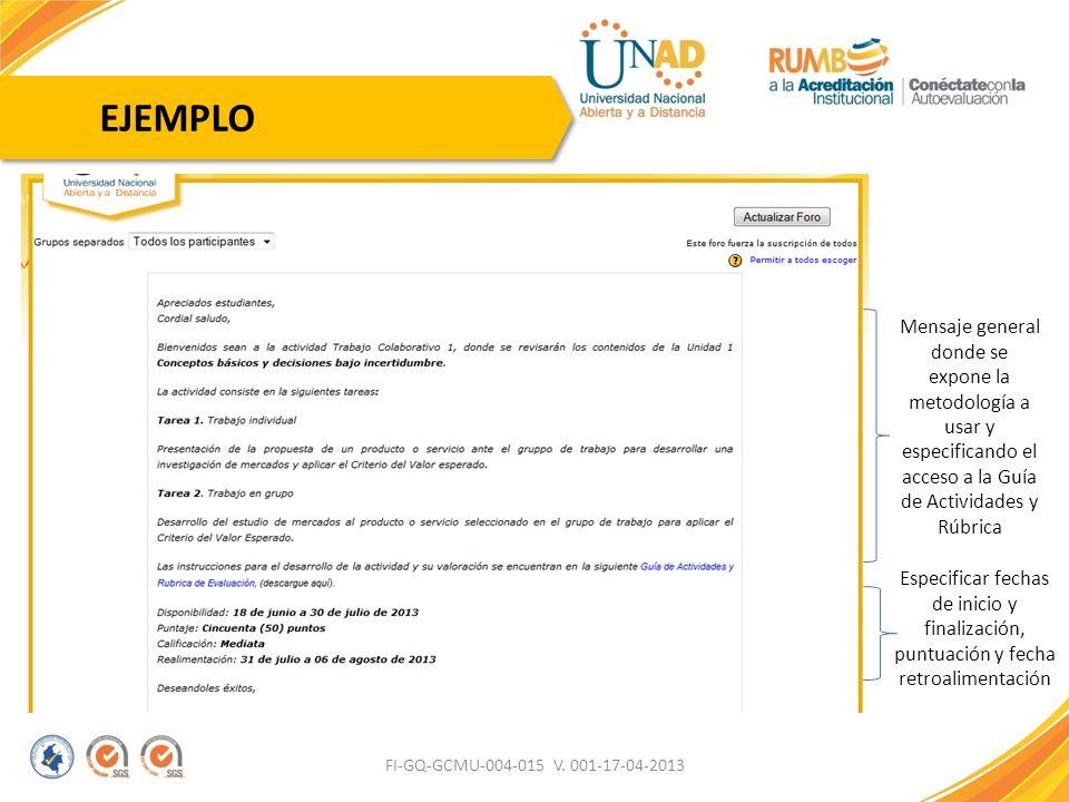 EJEMPLO Mensaje general donde se expone la metodología a usar y especificando el acceso a la Guía de Actividades y Rúbrica.