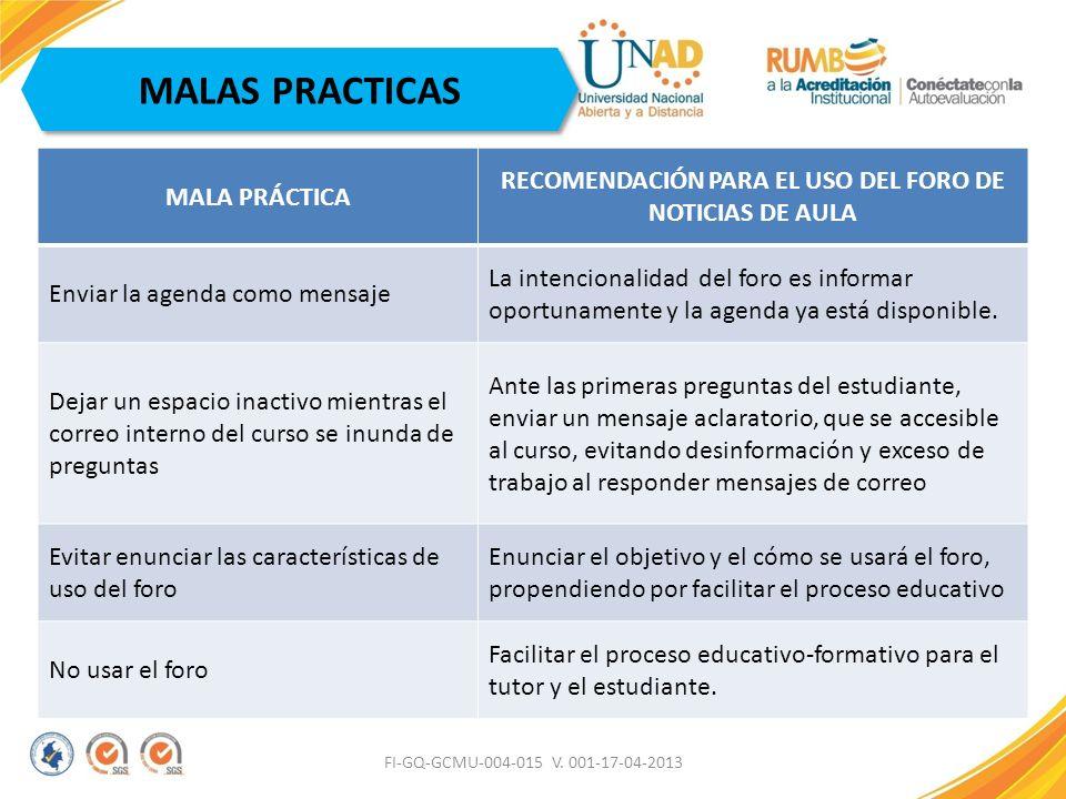 RECOMENDACIÓN PARA EL USO DEL FORO DE NOTICIAS DE AULA