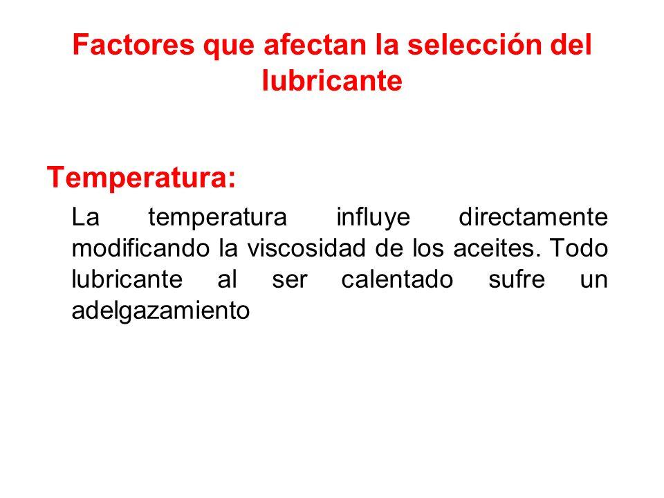 Factores que afectan la selección del lubricante