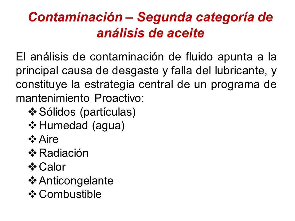 Contaminación – Segunda categoría de análisis de aceite