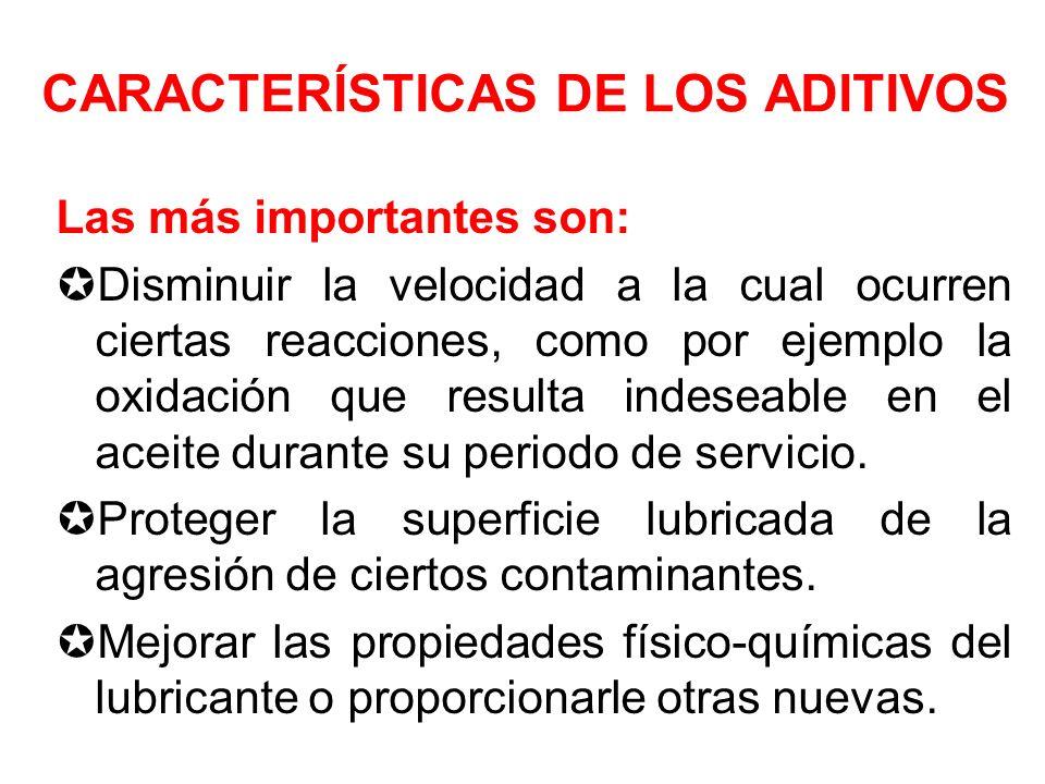 CARACTERÍSTICAS DE LOS ADITIVOS