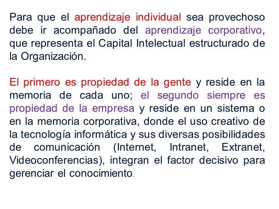 Para que el aprendizaje individual sea provechoso debe ir acompañado del aprendizaje corporativo, que representa el Capital Intelectual estructurado de la Organización.