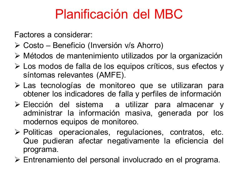Planificación del MBC Factores a considerar: