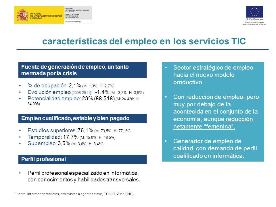 características del empleo en los servicios TIC