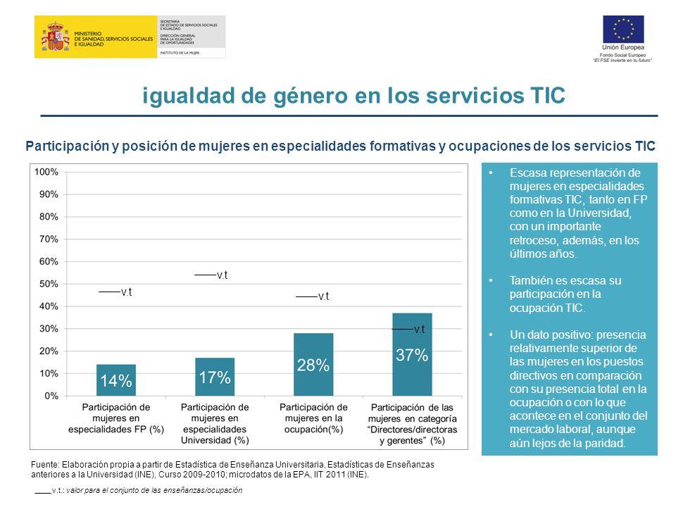 igualdad de género en los servicios TIC