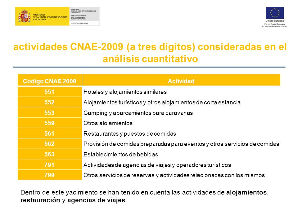 actividades CNAE-2009 (a tres dígitos) consideradas en el análisis cuantitativo