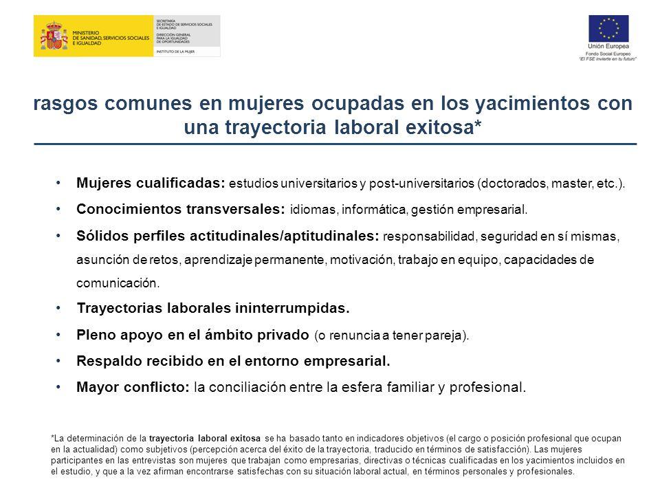 rasgos comunes en mujeres ocupadas en los yacimientos con una trayectoria laboral exitosa*