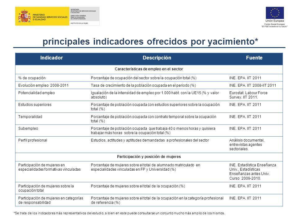 principales indicadores ofrecidos por yacimiento*