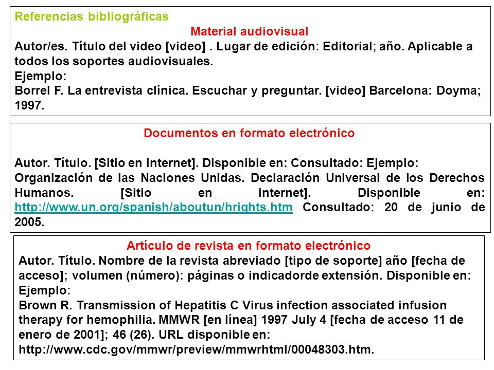 Referencias bibliográficas Material audiovisual