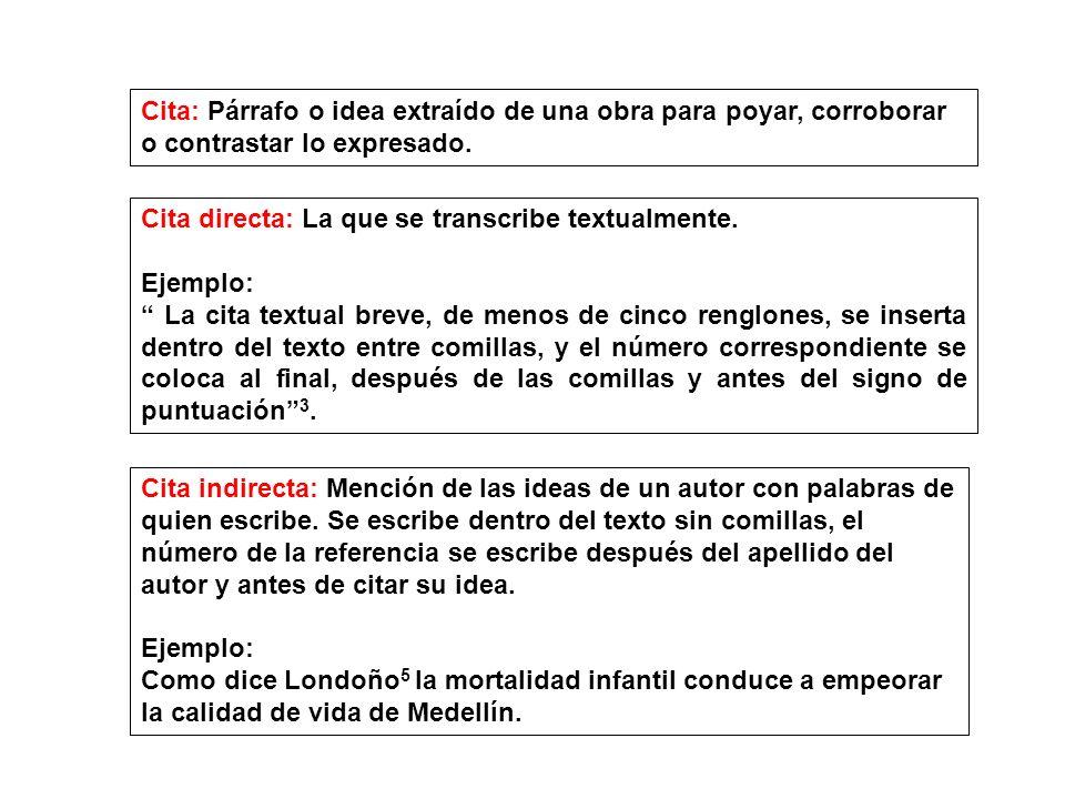 Cita: Párrafo o idea extraído de una obra para poyar, corroborar o contrastar lo expresado.