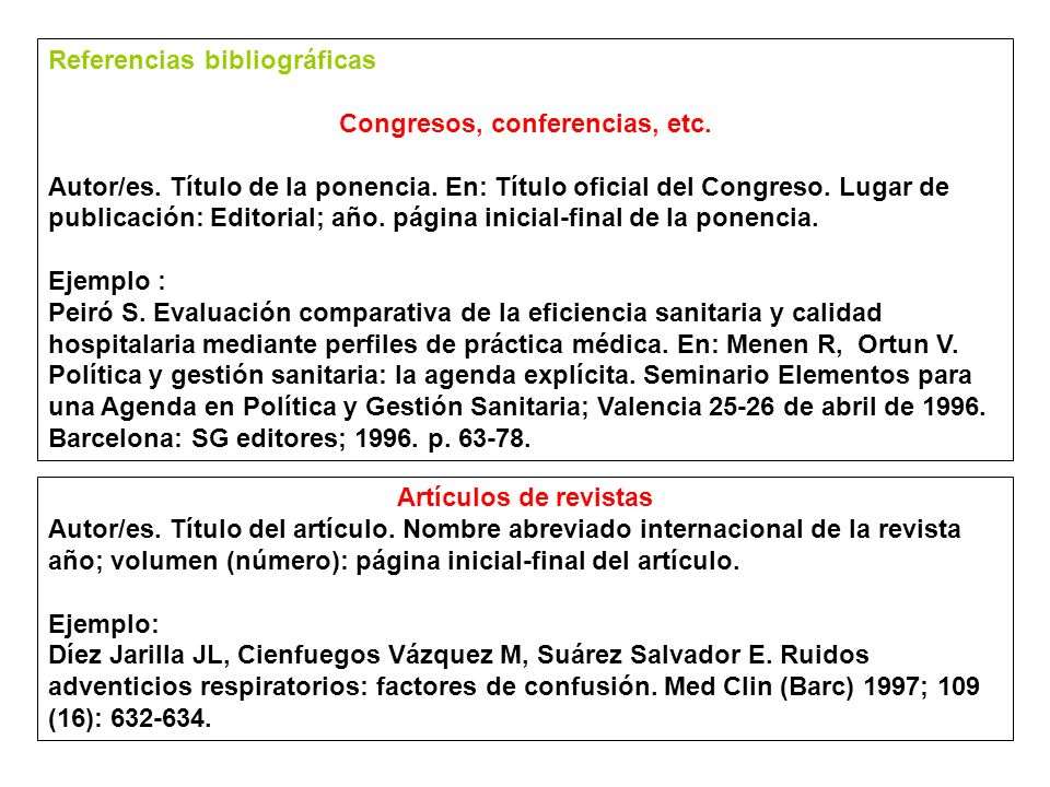 Congresos, conferencias, etc.