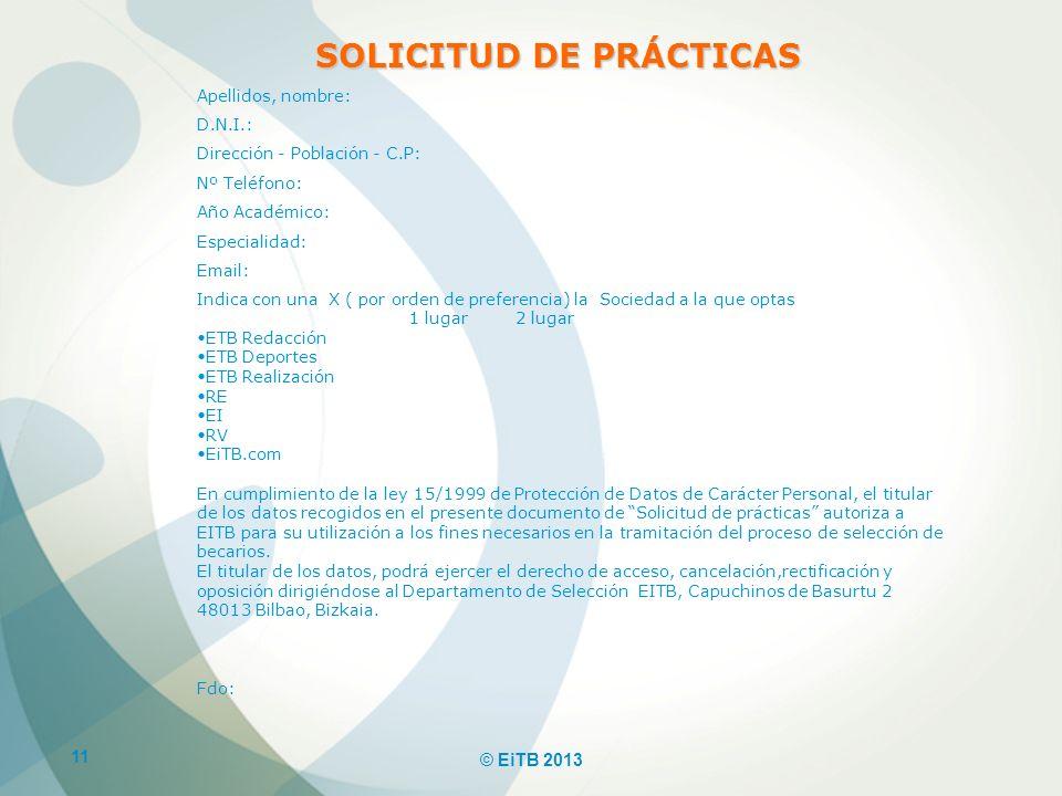 SOLICITUD DE PRÁCTICAS