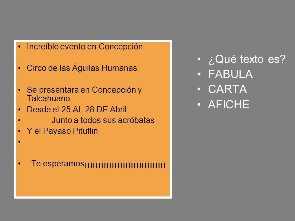 ¿Qué texto es FABULA CARTA AFICHE Increíble evento en Concepción