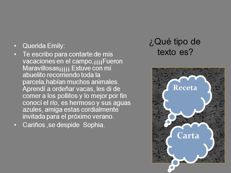 ¿Qué tipo de texto es Carta Receta Querida Emily: