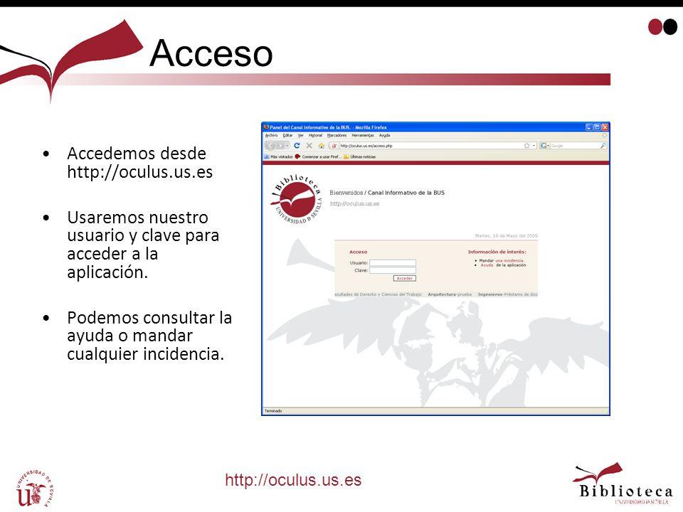 Acceso Accedemos desde http://oculus.us.es