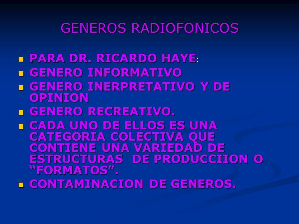 GENEROS RADIOFONICOS PARA DR. RICARDO HAYE: GENERO INFORMATIVO