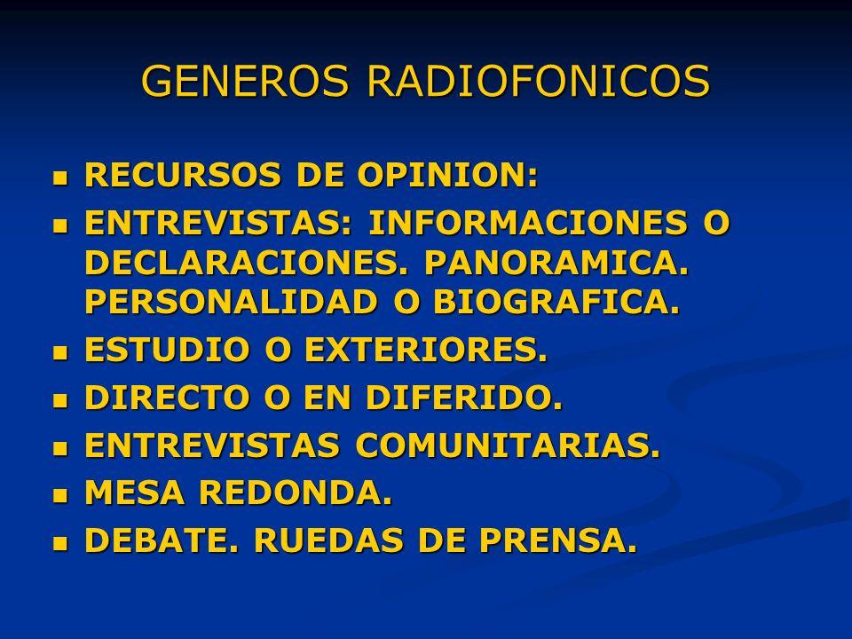 GENEROS RADIOFONICOS RECURSOS DE OPINION: