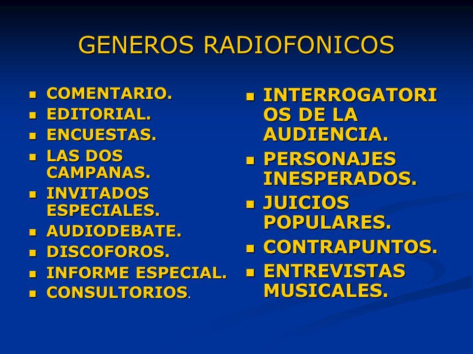 GENEROS RADIOFONICOS INTERROGATORIOS DE LA AUDIENCIA.