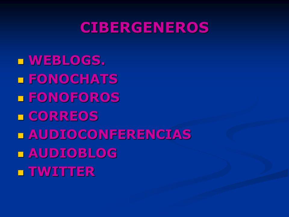 CIBERGENEROS WEBLOGS. FONOCHATS FONOFOROS CORREOS AUDIOCONFERENCIAS