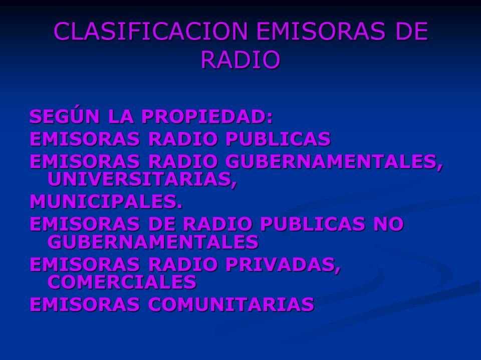 CLASIFICACION EMISORAS DE RADIO