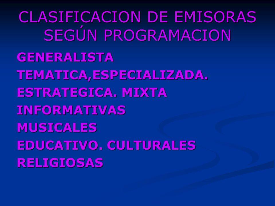 CLASIFICACION DE EMISORAS SEGÚN PROGRAMACION