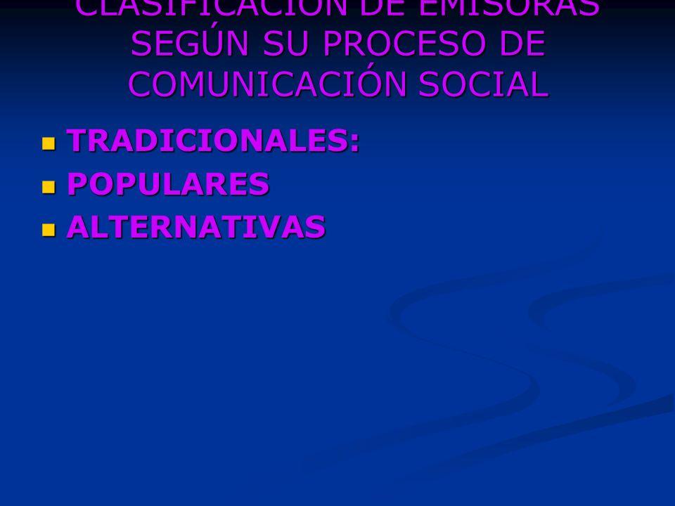 CLASIFICACION DE EMISORAS SEGÚN SU PROCESO DE COMUNICACIÓN SOCIAL