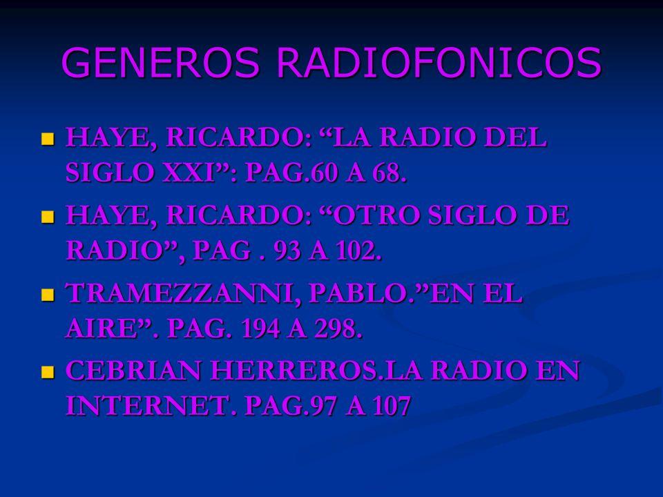 GENEROS RADIOFONICOS HAYE, RICARDO: LA RADIO DEL SIGLO XXI : PAG.60 A 68. HAYE, RICARDO: OTRO SIGLO DE RADIO , PAG . 93 A 102.