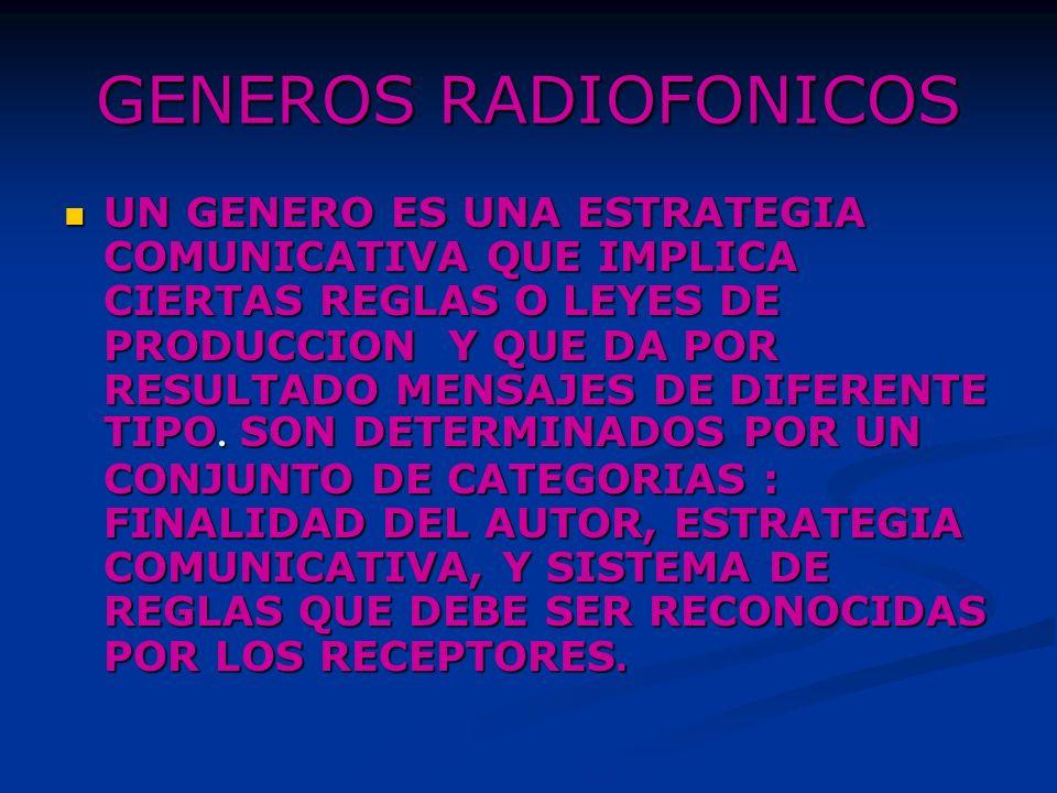 GENEROS RADIOFONICOS