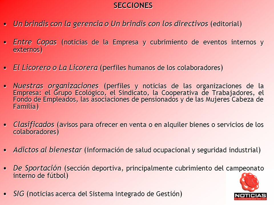 SECCIONES Un brindis con la gerencia o Un brindis con los directivos (editorial)