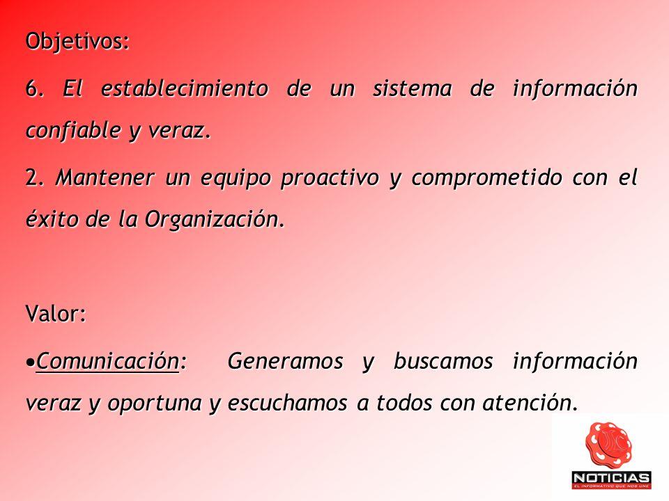 Objetivos: 6. El establecimiento de un sistema de información confiable y veraz.