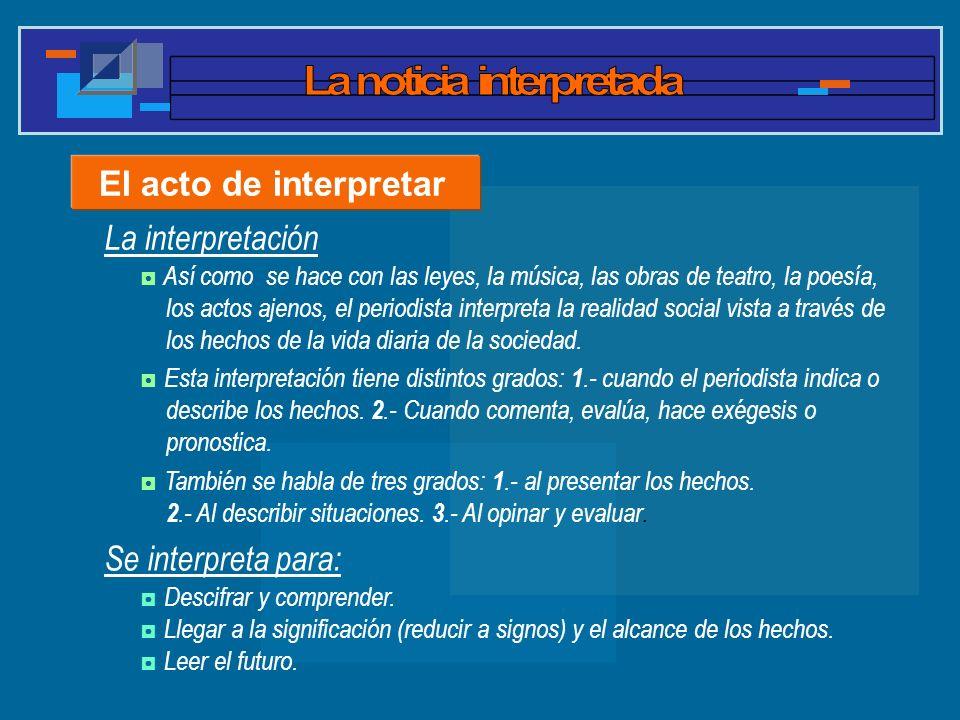 La interpretación El acto de interpretar Se interpreta para: