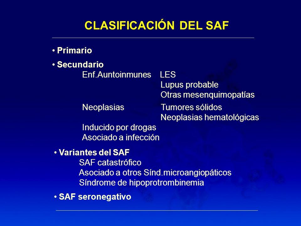 CLASIFICACIÓN DEL SAF Primario Secundario Enf.Auntoinmunes LES