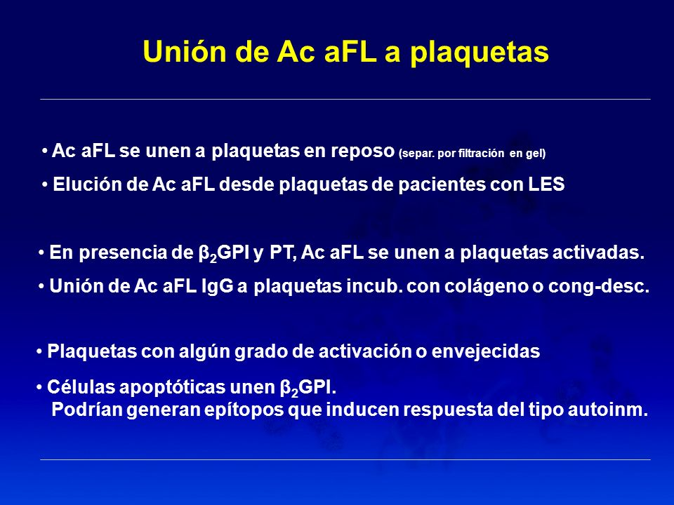 Unión de Ac aFL a plaquetas