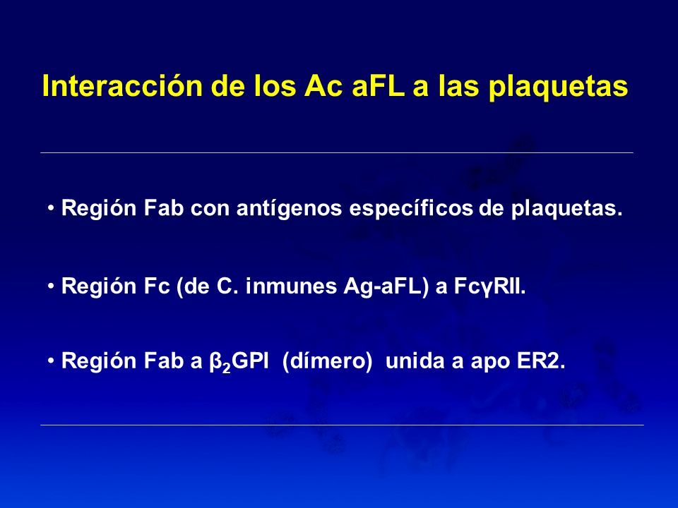 Interacción de los Ac aFL a las plaquetas