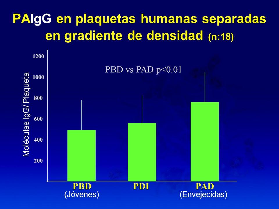 PAIgG en plaquetas humanas separadas en gradiente de densidad (n:18)